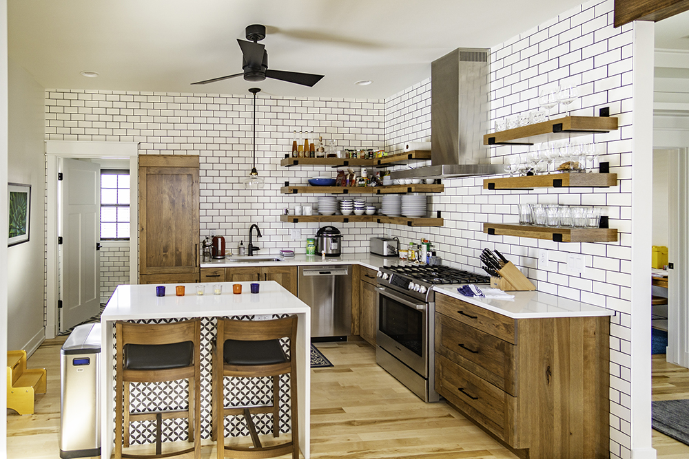 kitchen with storage shelves instead of cupboards