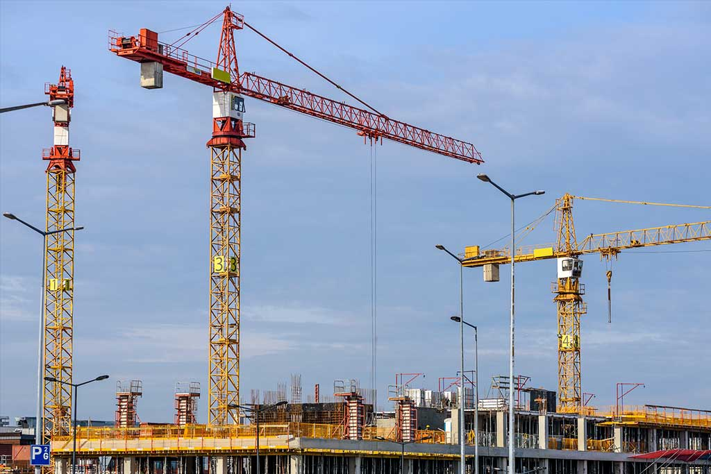 Cranes being used for construction site