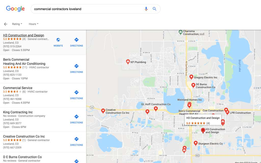 Google search for commercial contractors loveland