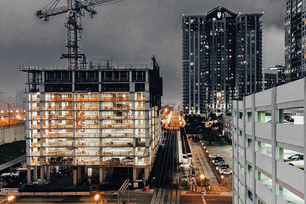 Commercial construction high rise building under construction