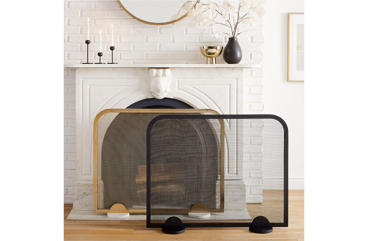 Gold and black fireplace screens