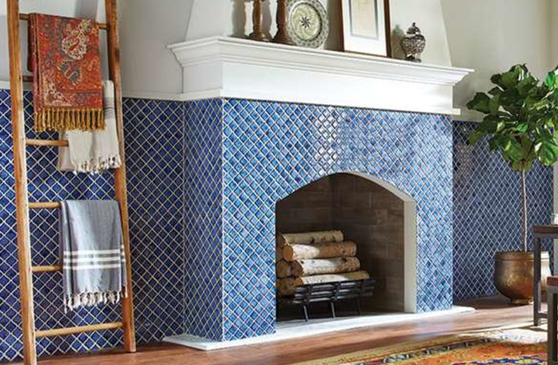 blue tiles around fireplace